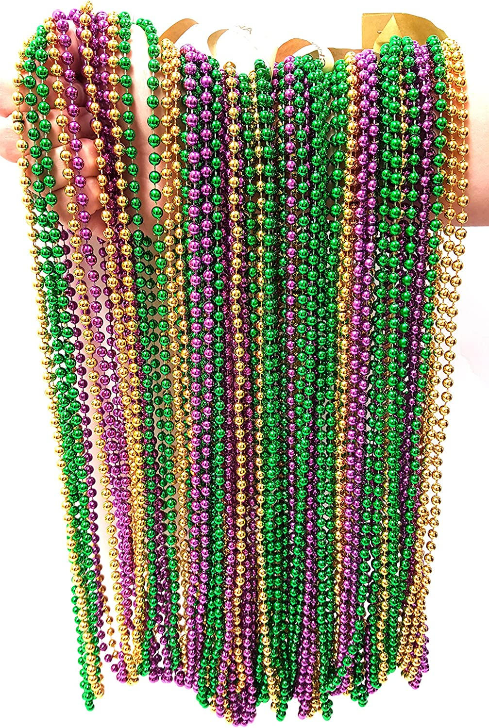 Metallic Beaded Necklaces (144 PACK, GOLD, GREEN, PURPLE)