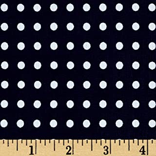 Fabric Stretch ITY Jersey Knit Micro Dot Navy and White Yard