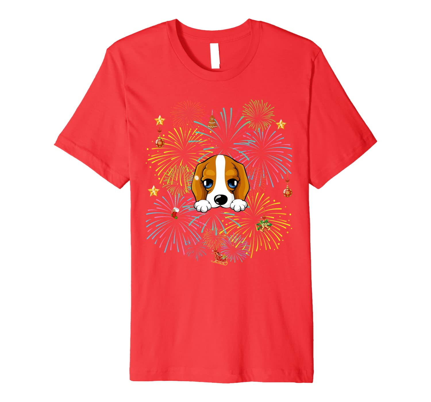 Beagle Reindeer Merry Christmas And Happy New Year Premium T-Shirt