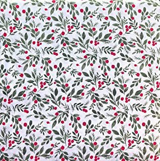 White Pine Bedding 4 Piece Cotton Full Size Bed Sheet Set Extra Deep Pockets Winter Holiday Christmas Pattern with Red Berries Green Leaves Mistletoe on White