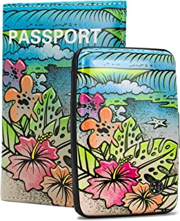 Maui and Sons RFID Protected Wallet and Passport Cover Set - Prevent Electronic RFID Scan Theft