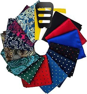 Pocket Squares for men 15 Pack set with Pocket Square Holder in Designer Gift Box Assorted colors Polka dots Paisley Plain...