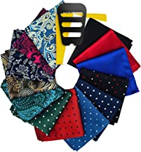 ekSel Pocket Squares sets and Pocket Square Holders Organizers for men Assorted Colors Polka Dots Paisley Plain Perfect Gift