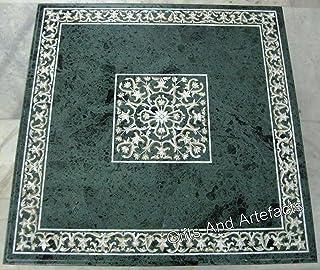 Pietra Dura Art Table de salle à manger en marbre vert 122 x 122 cm