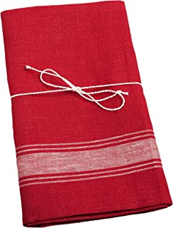Linen Kitchen Towels - 2-Pack - Pure European Flax - 19x28 - Bright Red