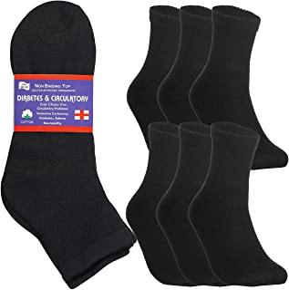 Special Essentials 6 Pairs Men's Cotton Diabetic Ankle Socks Black Grey White (Black, 9-11)