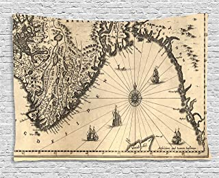 Ambesonne Wanderlust Decor Collection, Ancient Map of Southern Part of the Norway Vikings World Old Scandinavian Lands Print, Bedroom Living Room Dorm Wall Hanging Tapestry, 80W X 60L Inch, Cream Grey