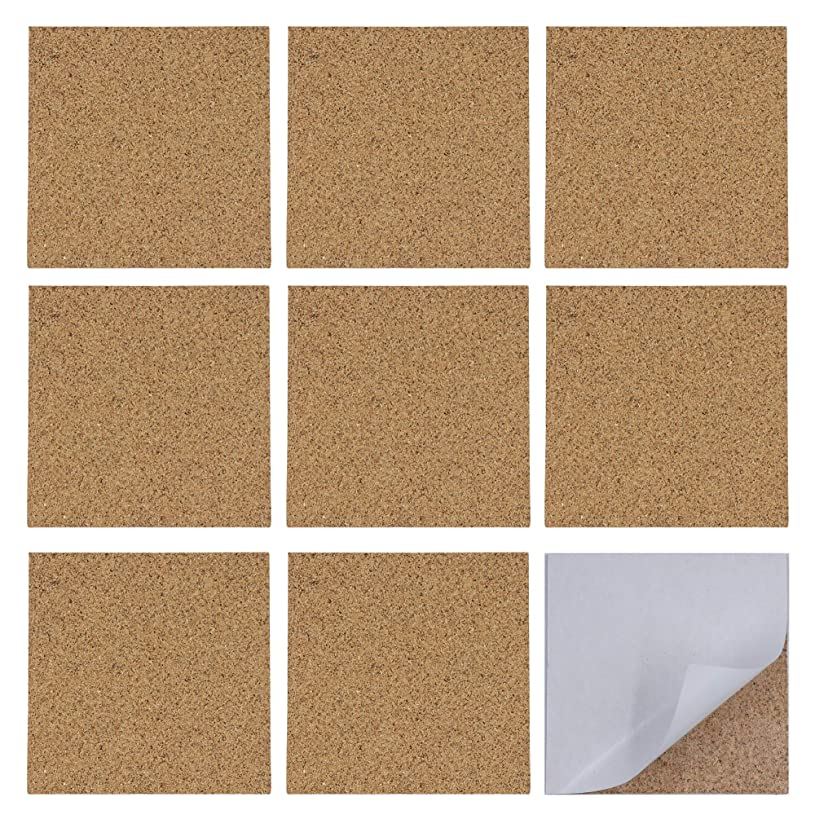 Floranea 20 Pcs Self Adhesive Cork Sheet 4 x 4 Inch Squares Bulk Soft Natural Small Wall Backing Cork Board for Tile Coaster DIY Furniture Art Craft School Classroom Project