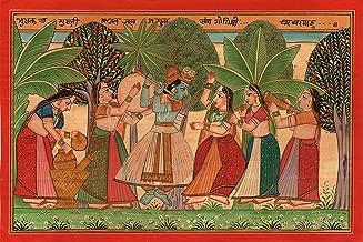 Kangra Gita Govinda Art Handmade Indian Miniature Krishna Radha Pahari Painting