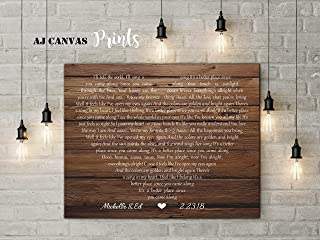AJ Canvas Prints Wedding for her, Wedding Gifts for Couples who Have Everything, Song Lyrics Wall Art Personalized (11x14, Unframed Print)