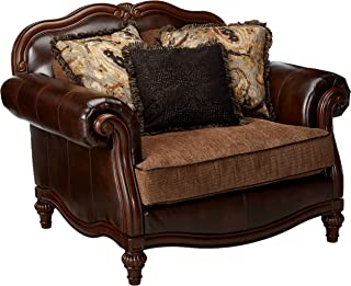 Ashley Furniture Signature Design - Winnsboro Chair & A Half - Traditional - Vintage Brown