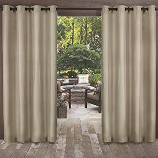 Exclusive Home Curtains Biscayne Indoor/Outdoor Two Tone Textured Window Curtain Panel Pair with Grommet Top, 54x96, Sand, 2 Piece