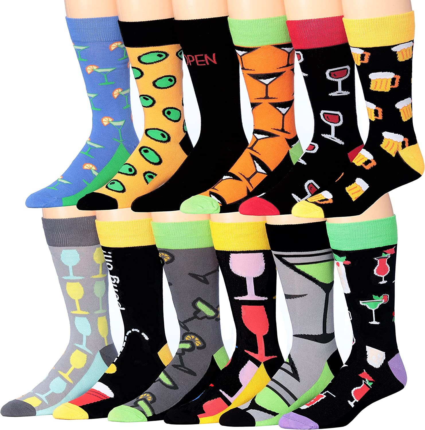 ColorfutMen's 12 Pairs Soft Cotton Blend Colorful Funky Gift Box Dress Socks