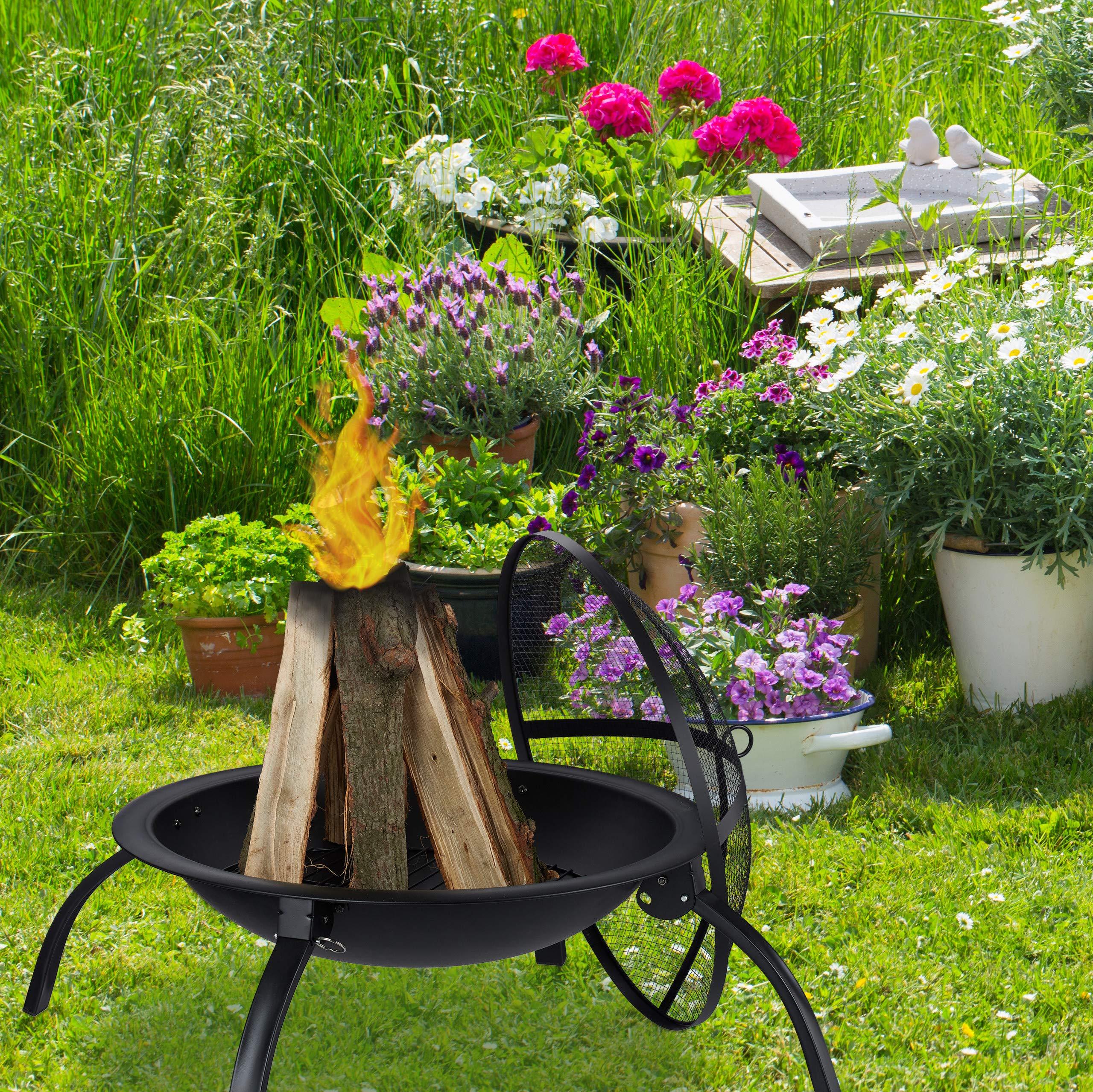 Relaxdays Brasero para jardín, Parrilla de Barbacoa, Atizador, Tapa contra chispas, Cuenco para hogueras, 56, 5 cm, Negro: Amazon.es: Jardín