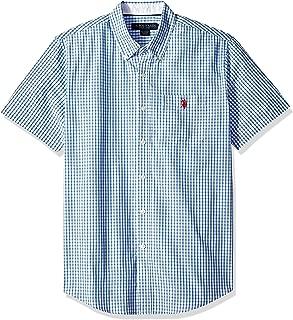U.S. Polo Assn. Men's Short Sleeve Classic Fit Plaid Shirt, Flipflop Blue, M