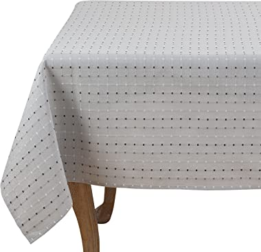 "SARO LIFESTYLE Cousu Collection Square Stitched Tablecloth/2136.GY70S, 70"", Grey"