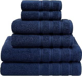 American Soft Linen 6-Piece 100% Organic Turkish Cotton Premium & Luxury Towel Set for Bathroom & Kitchen, 2 Bath Towels, 2 Hand Towels & 2 Washcloths [Worth $72.95] - Navy Blue