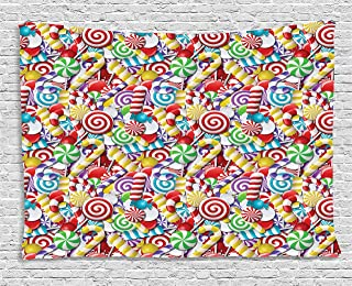 Candy Cane Tapestry, Bonbons Lollipops Sugary Treats Sweeties Colorful Pile for Festive Occasions, Wall Hanging for Bedroo...