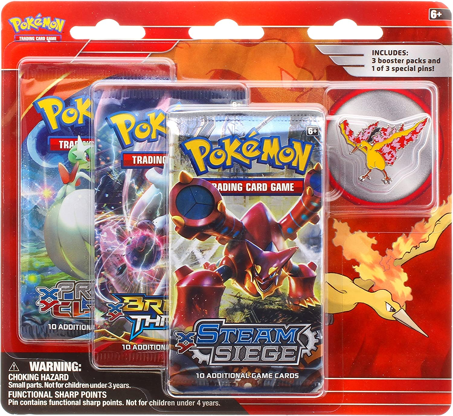 Pokemon TCG  Legendary Birds Blister Pack Containing 3 Booster Packs and Featuring A Moltres Collector's Pin