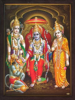 Hanuman Sitting in Ram Darbar and Showing is Dedication Towards His Family, a Holy Religious Poster Painting with Frame fo...