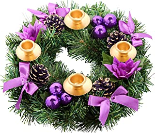 Purple Ribbon Christmas Advent Wreath. For Advent Calendar Season Candle Deocr and X-mas Candles Decorations