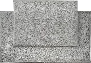 "AmazonBasics Performance Bath Rug Set, 17"" x 24"" and 20"" x 34"", Soft Silver"