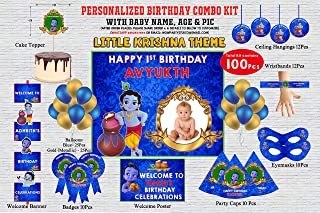 WoW Party Studio Personalized Little Krishna Theme Birthday Party Supplies with Birthday Boy/Girl Name - Combo Kit #1 (100...