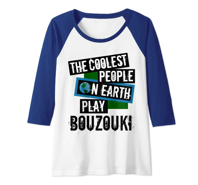 The Coolest People on Earth Play Bouzouki Fun String Instrument Raglan Baseball Tee