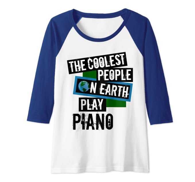 The Coolest People on Earth Play Piano String Instrument Raglan Baseball Tee
