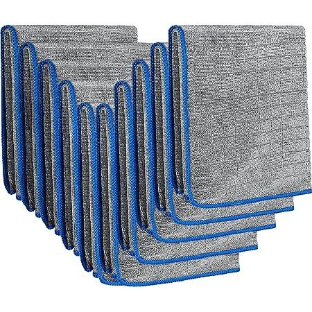 EASY EAGLE 10 Pièces Chiffons Polissage/Nettoyant Microfibre 40x40CM, 380GSM Serviette de Sèchage