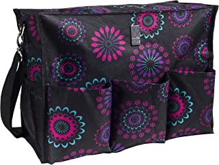 Wheelchair Bag for Back of Chair w/ 5 Exterior & 5 Interior Pockets - Perfect Carrier Bag for Newspaper, Medical Paperwork, Blanket for Most Electric, Manual or Power Wheelchairs (Purple Circle)