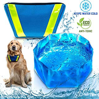 Te-Wai FreeZone Dog Pet Water Bowl Freeze Cool & Frosty Foldable Portable Bowl for Outdoor Activities
