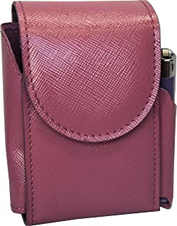 Portasigarette, porta pacchetto sigarette con porta accendino, Vera Pelle - Etabeta Artigiano Toscano - Made in Italy (rosa)