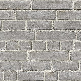 NuWallpaper NU2236 Grey Brick Façade Peel and Stick Wallpaper