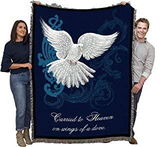Christian Funeral Gifts, Heavenly Dove Blanket, Memorial Sympathy Gift & Bereavement Gift for Loss of Mother, Father or Loved One – Healing Thoughts Funeral Blanket (72x54)