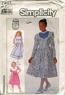 Simplicity Gunne Sax Pattern 7401 Girls' Dress in Two Lengths, Size 7 Vintage Sewing Pattern