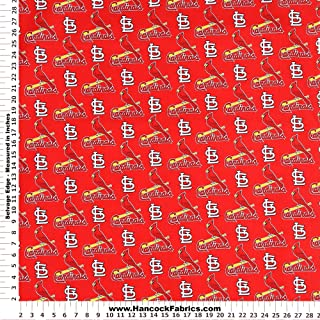 MLB St Louis Cardinals Red Cotton Fabric - Sold By the Yard