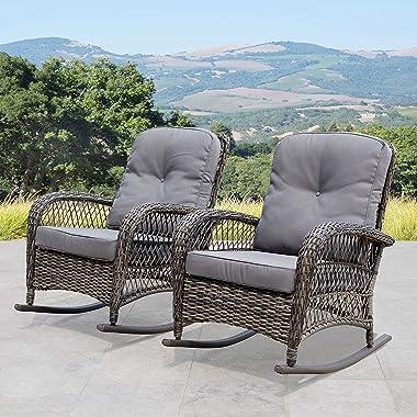 Corvus Salerno Outdoor Wicker Rocking Chair with Cushions with Cushions, Rocking Chairs, Wicker Chairs Grey Metal, Wicker, Fa