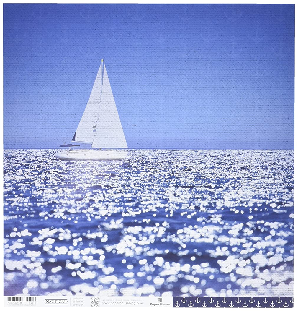 PAPER HOUSE P-2014E 15 Sheet Sailing Away Nautical Double-Sided Cardstock, 12
