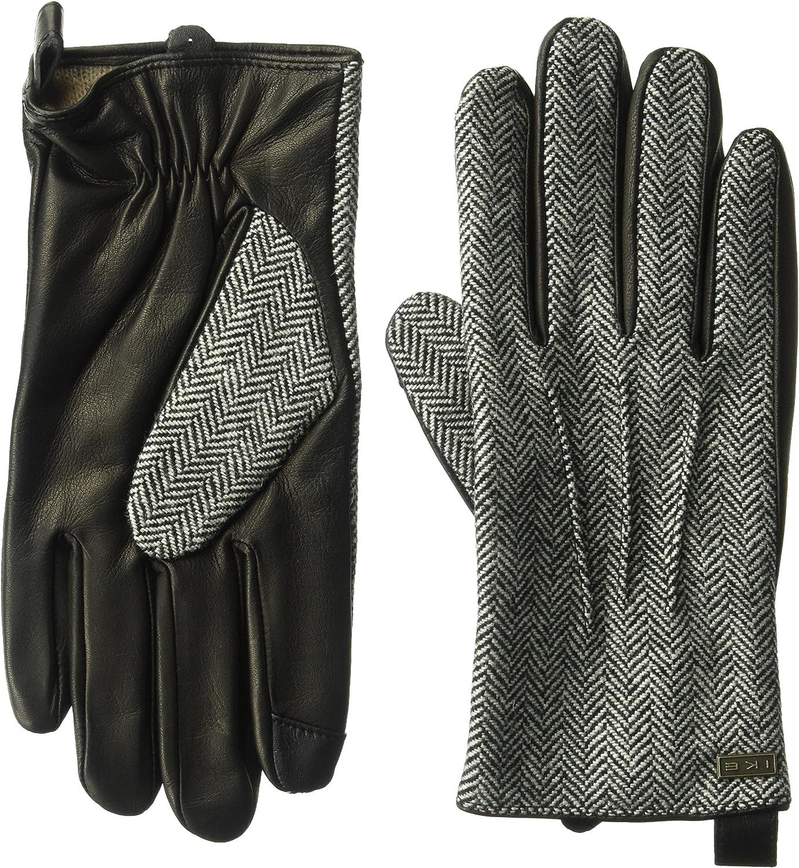 Max 69% OFF Ike Fixed price for sale Behar Men's Leather Herringbone Gloves Touchscreen