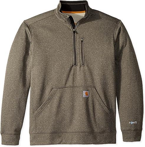 voiturehartt Hommes's Force Extremes Mock Neck Half Zip Sweatshirt, Granite Heather, grand