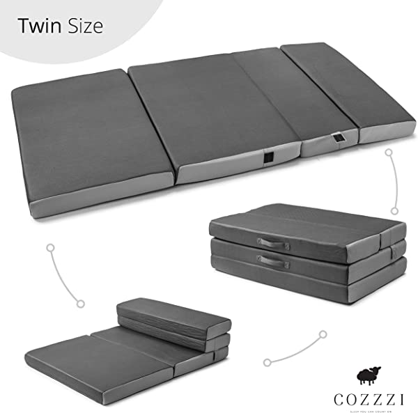 Cozzzi Twin Folding Mattress 4 Thick X 75 X 39 Trifold Foam Mat With Carrying Handles And Removable Washable Cover Lightweight Portable Easy To Store