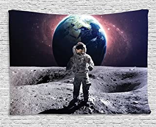 Ambesonne Space Tapestry, Brave Astronaut at The Spacewalk on The Moon Surface with Earth Cosmos Art Image, Wide Wall Hanging for Bedroom Living Room Dorm, 60