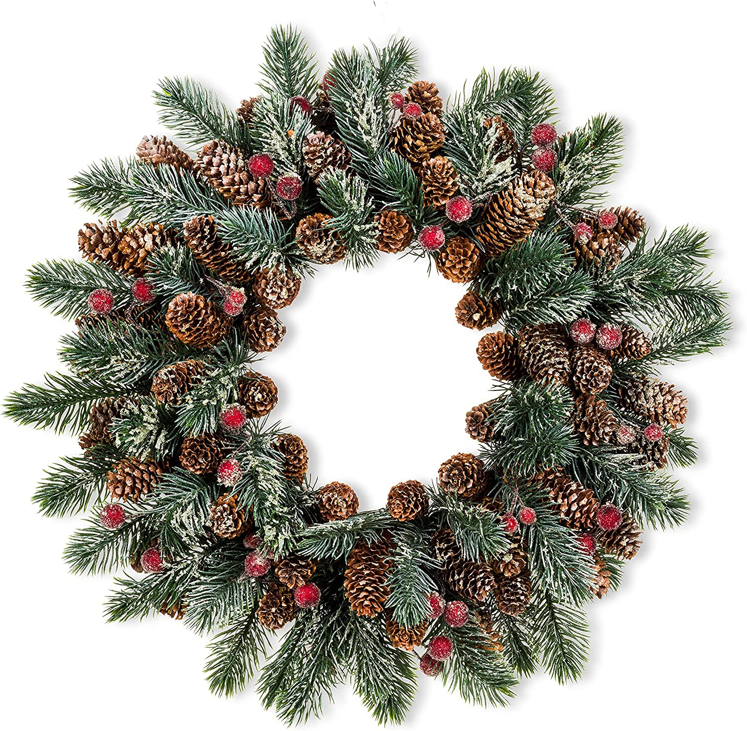 Inventory cleanup selling sale Abbott Collection 27-FROSTBERRY-091 Nashville-Davidson Mall Frosty Berry Pine Wreath