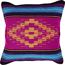 Threads West Throw Pillow Covers 18 X 18 Inches, Hand Woven Southwest, Mexican, and Native American Styles. Hand Crafted Western Decorative Pillow Cases (Saltillo 3)