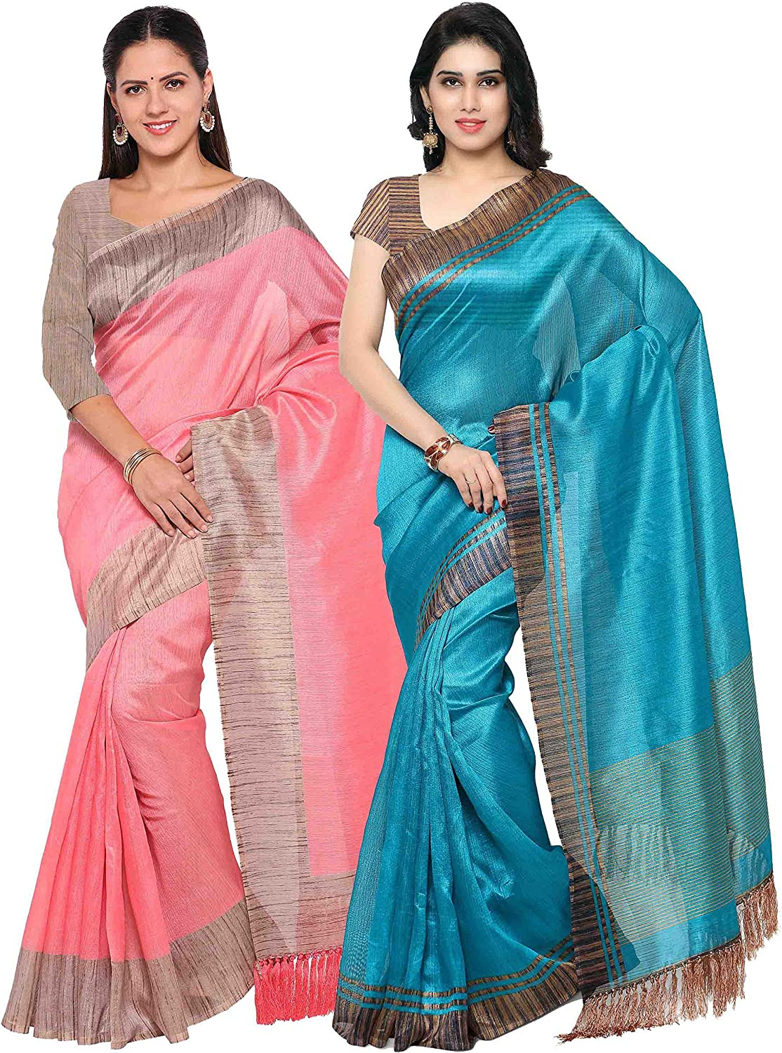 Rajnandini Women's Tussar Silk Printed Saree(Baby Pink And Teal bluee_Combo Of 2)