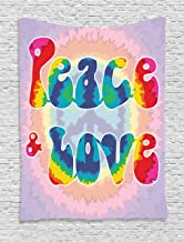Ambesonne Groovy Tapestry, Peace and Love Text in Tie Dye Effect Pattern Energetic Youthful Fun 60s 70s Hippie, Wall Hanging for Bedroom Living Room Dorm, 60