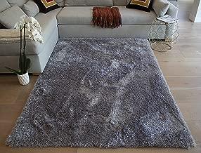 LA Weaver Fluffy Shag Shaggy Solid Modern Large Rectangle Deep Plush Pile Custom Contemporary 8-Feet-by-10-Feet Polyester Made Area Rug Carpet Rug Gray Grey Color