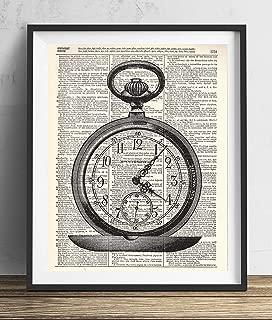 Vintage Pocket Watch Illustration (#1) Upcycled Dictionary Art Print 8x10