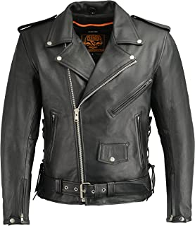 Milwaukee Leather Men's Classic Side Lace Police Style Jacket with Gun Pockets (Black, Large)